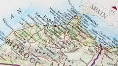 Rabat - Morocco Map Zoom Stock Footage