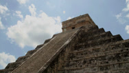 Stock Video Footage of Kukulkan Pyramid at Chichen Itza.