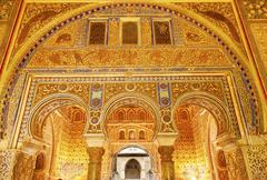 Horseshoe arches ambassador room alcazar royal palace seville spain Stock Photos