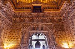 Arch mosaics ambassador room alcazar royal palace seville spain Stock Photos