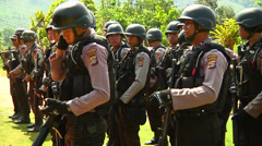 Poso Police standing together Stock Footage