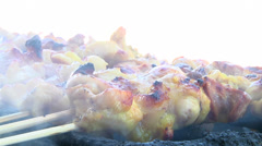 Grilling Chicken Satay - stock footage