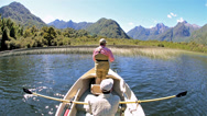Stock Video Footage of Two men on a fly-fishing adventure on Ceasar Lake in Parque Nacional Corcovado