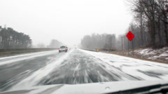 Winter storm Leon driving. Stock Footage