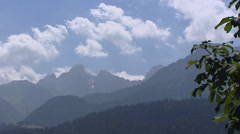 View at mountain range in Saane valley, summer, cumulus clouds Stock Footage