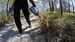 Following a fire crew member lighting a prescribed fire with a drip torch in Stock Footage