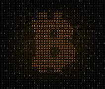 Bitcoin symbol binary code - stock illustration