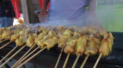 Chicken Satay grilling in Asia Stock Footage