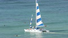 Yacht Boat raising a mast Stock Footage
