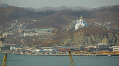 Far-Eastern borders of Russia. Orthodox temple on the edge of the earth Stock Footage