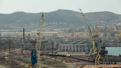 Industrial zone in the port of Nakhodka Stock Footage