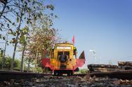 Yellow railway repair machine Stock Photos