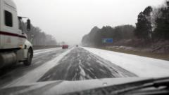 Winter storm Leon driving snow Stock Footage