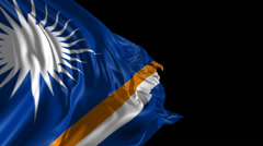 Flag of Marshall Islands Stock Footage