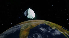 Asteroid explosion in the space close to earth - stock footage