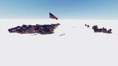 Flight of us american Flag Stock Footage