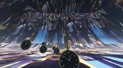 Time stress - Time lapse of people with swinging watches in the foreground - stock footage