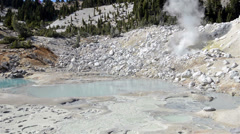 Panning of volcanic hydrothermal features in Bumpass Hell in Lassen Volcanic Stock Footage