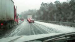 Winter storm Leon traffic jam Stock Footage