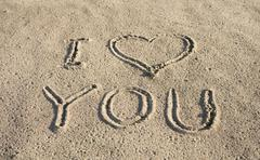i love you on a sand - stock photo