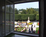 Stock Video Footage of SALZBURG, AUSTRIA -  window view at Mirabell Gardens