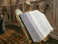 open bible in church - stock photo