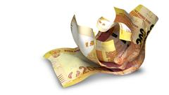 Scrunched up south african rand notes Stock Illustration