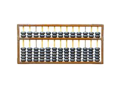 old wooden abacus on white - stock photo