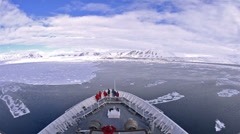 Bow point of view of an icebreaker ship plowing through sea ice in Sorgfjorden Stock Footage