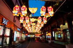 lanterns at the yuyuan garden in shanghai, year of the horse. - stock photo