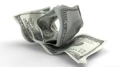 scrunched up us dollar notes - stock illustration