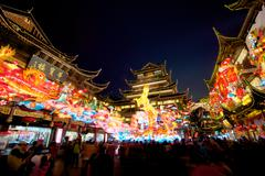 chinese new year at the yuyuan garden in shanghai, year of the horse. - stock photo