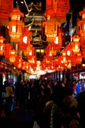 red lanterns at the yuyuan garden in shanghai, year of the horse. - stock photo