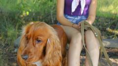 Girl with English Cocker Spaniel relaxing on a hot summer day, looking around Stock Footage