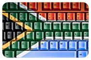 Stock Illustration of computer keyboard with south africa flag concept