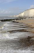 beach at rottingdean. sussex. england - stock photo