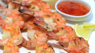 Stock Video Footage of prawns with chilli sauce (loopable)