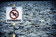 Signboard no swimming at noa-dehing river, namdapha, arunachal pradesh, india Stock Photos
