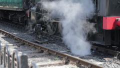 Steam train close up of wheels. Stock Footage