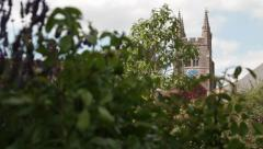 Garden With Church Time lapse Stock Footage