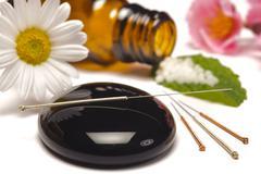 alternative medicine with homeopathy - stock photo