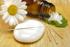 Alternative medicine with homeopathy Stock Photos