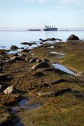 Stock Photo of English Bay Shore and Freighters