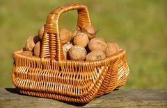 Walnuts In Basket Stock Photos