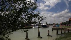 River Harbour Timelapse with Boats Left to Right Stock Footage