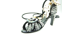 Gold pendant shoe shape with diamond crystals Stock Footage