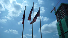 Real Malaysian Flag Waving In The Wind On Broad Daylight Stock Footage