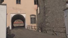 Bridge of Mukachevo castle Stock Footage