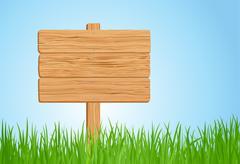 Wooden sign on green grass Stock Illustration