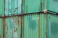 Stock Photo of stacked cargo containers